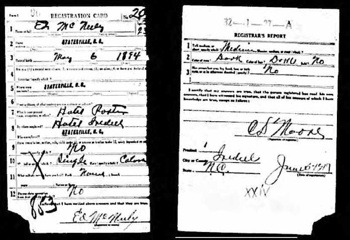 ed mcneely draft card