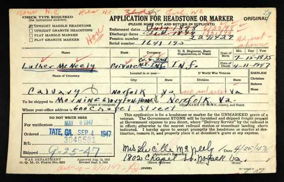 U.S.HeadstoneApplicationsforMilitaryVeterans1925-1963ForLutherMcNeely