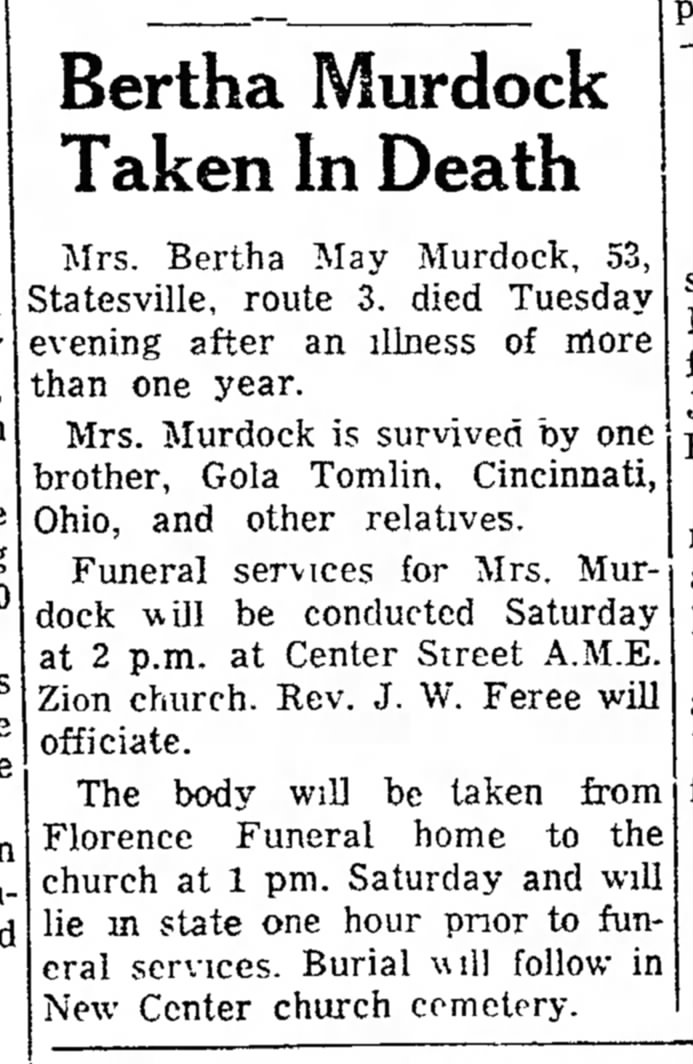 Bert Murdock Obit 26 May 1955 Record and Landmark
