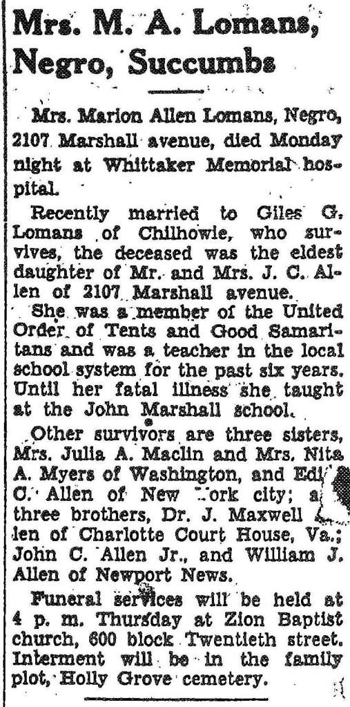 MA_Lomans_Obit_Daily_Press_15_Apr_1942