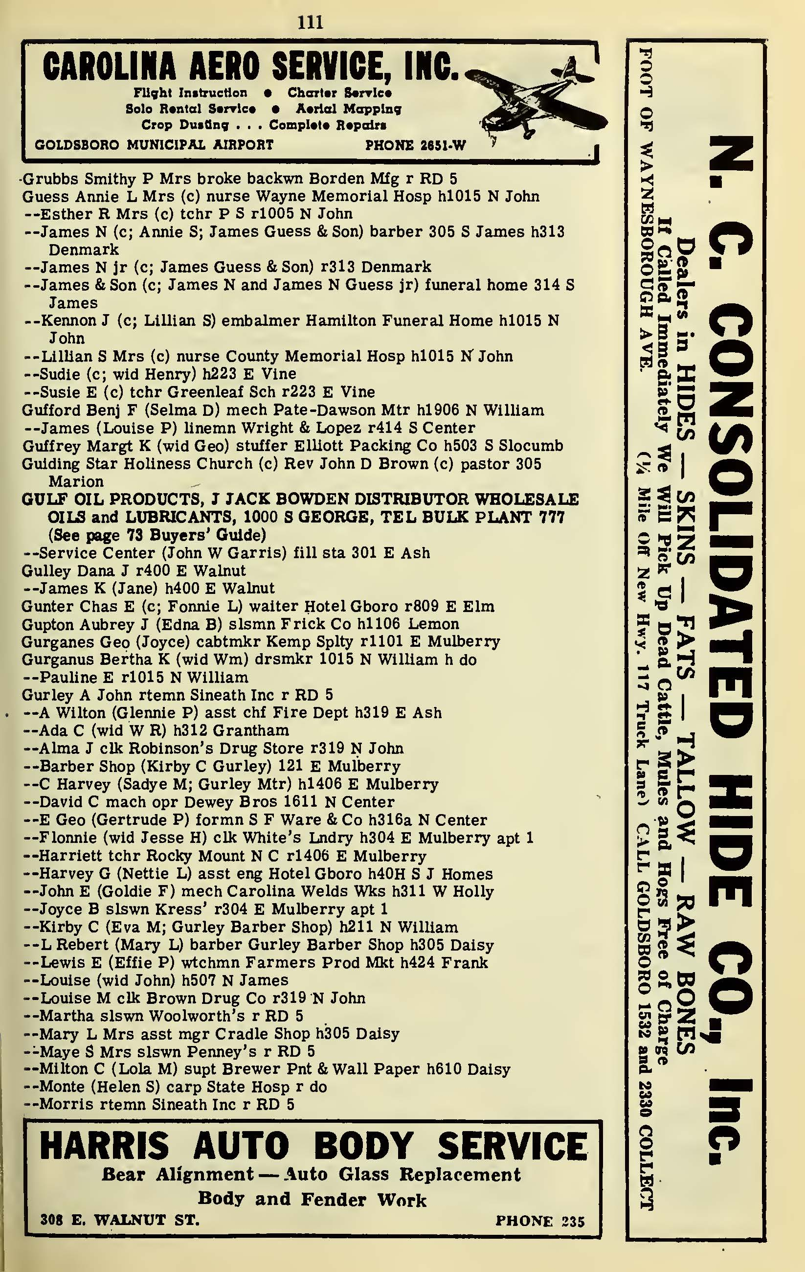 paternal kin genealogy page  hill s directory of goldsboro nc 1950 51