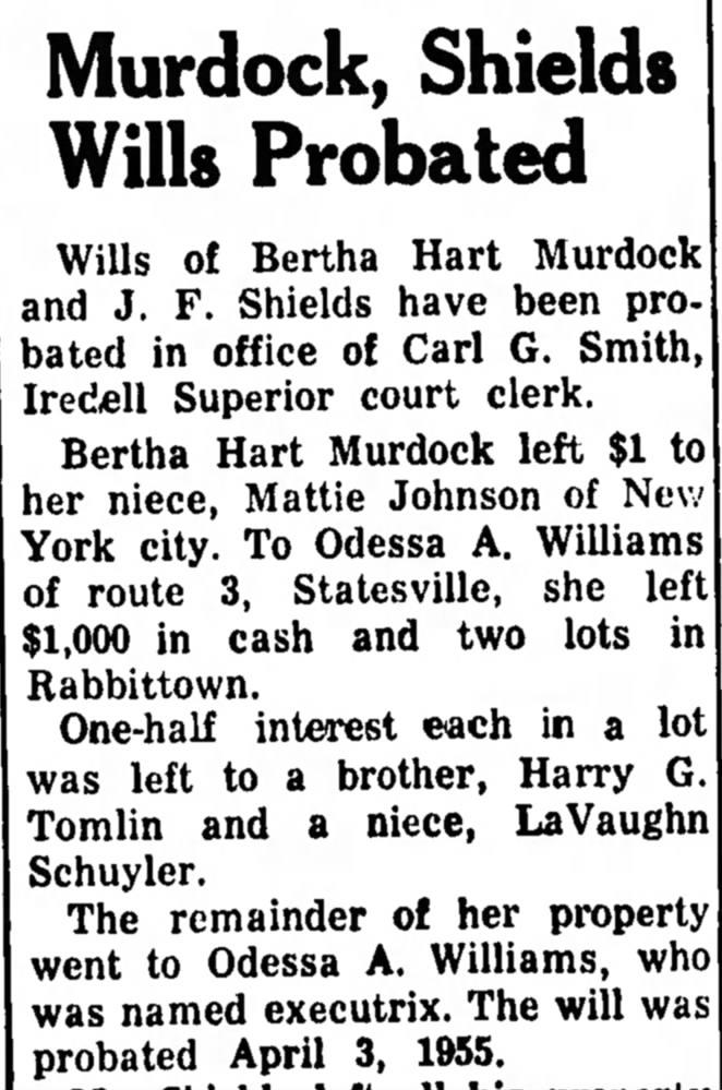 Murdock Will 8 Jun 1955 R and L