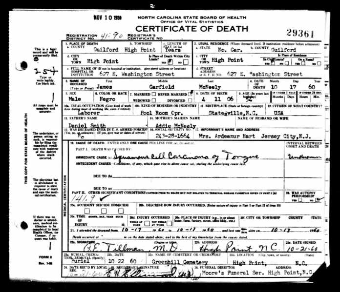 James G McNeely Death Cert