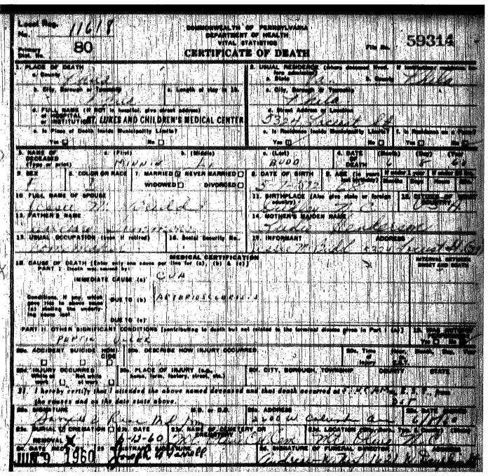 SIMMONS -- Minnie Budd Death Cert