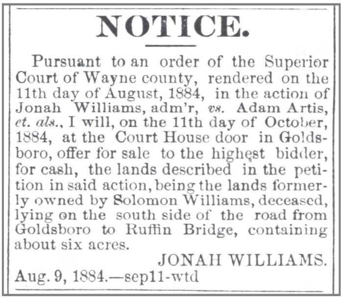 Gboro Messenger 9 11 1884 Wms v Artis