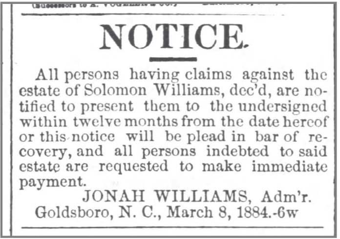Goldsboro_Messenger_3_10_1884_Sol_Wms_estate_debtors_notice