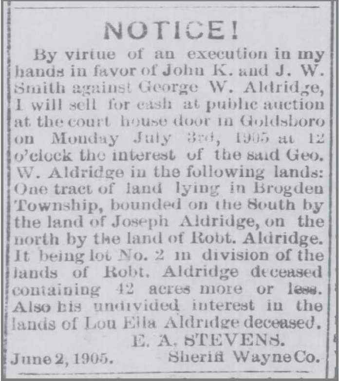 Gboro_Weekly_Argus_6_15_1905 GAldridge Land