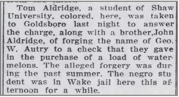 Wilson_Daily_Times_11_10_1911_Tom_Aldridge_forgery