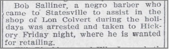 Charlotte_Obs_1_1_1907_Bob_Salliner_arrested