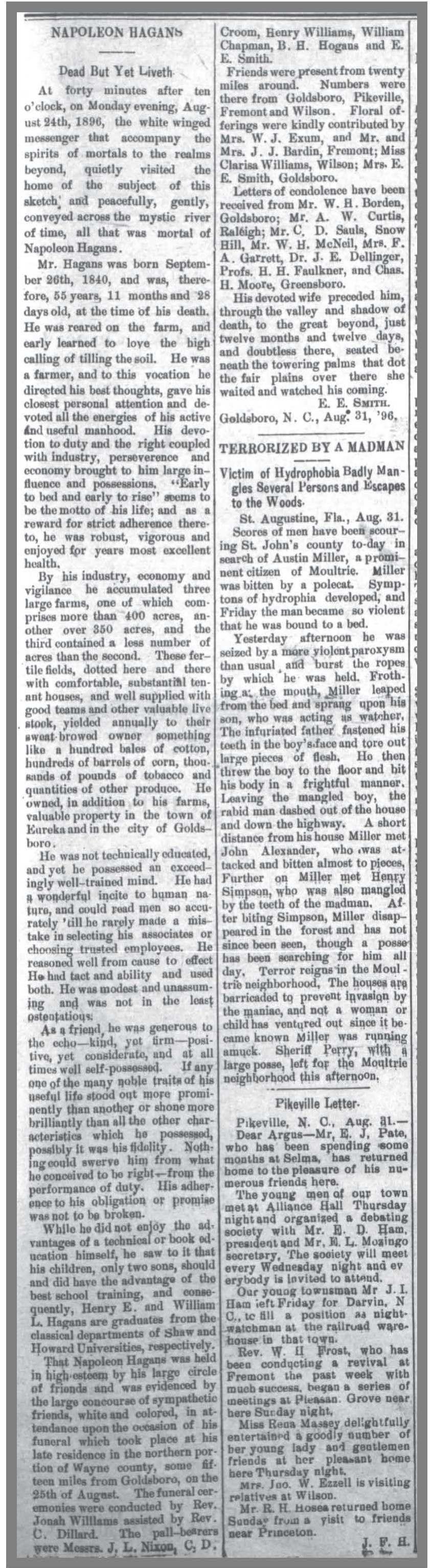 Goldsboro_Daily_Argus__9_1_1896_N_Hagans_Obit