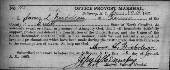 JL Nicholson oath