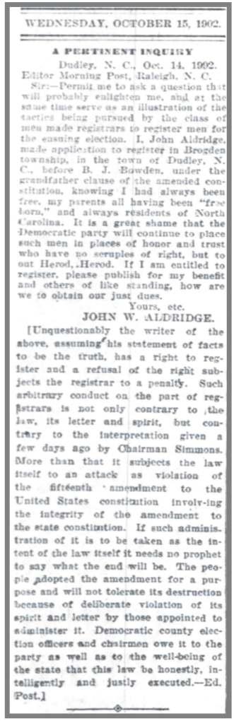 Morning_Post_Raleigh_10_15_1902_JW_Aldridge_Voting_Rights
