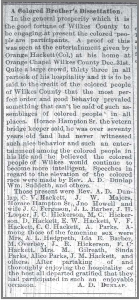 Wilkseboro_Chronicle_1_14_1891_Horace_Hampton