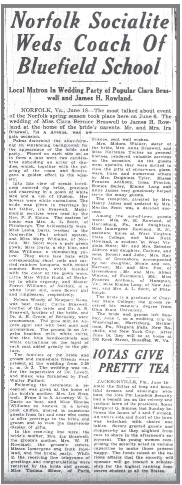 Pittsburgh Courier 6 20 1936 Clara Braswell wedding