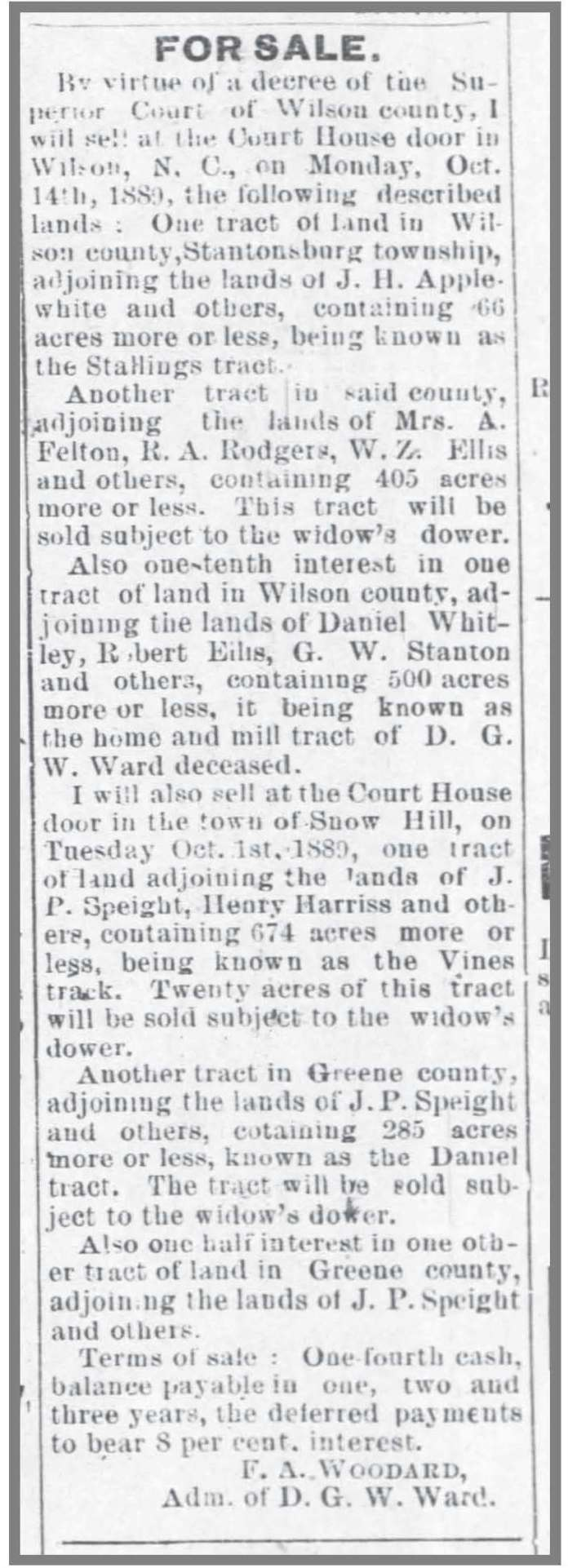 Wilson_Advance__8_22_1889_DGW_Ward_estate_land_sale