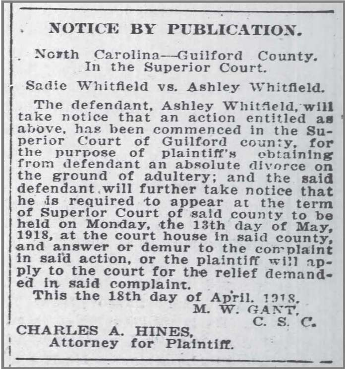 Gboro Patriot May 1918 Whitfield divorce