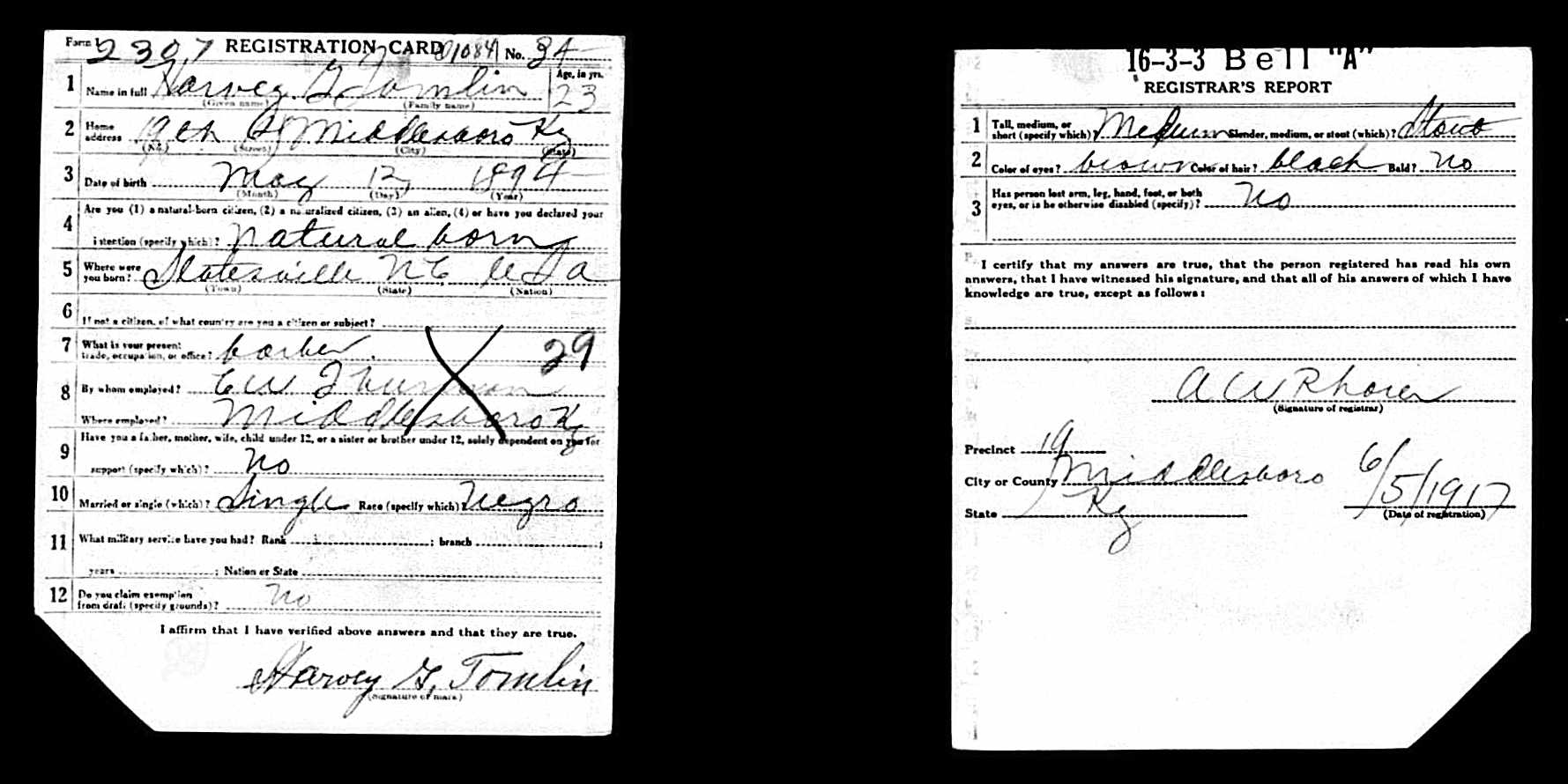 Nicholson scuffalong genealogy on 7 september 1918 harvey golar tomlin applied for a marriage license for himself of iredell county age 24 colored xflitez Choice Image