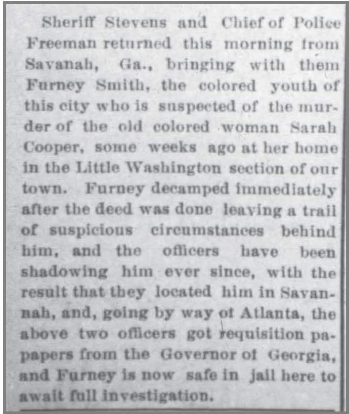Gboro_Daily_Argus__23_Feb_1907_Furney_Smith_arrest