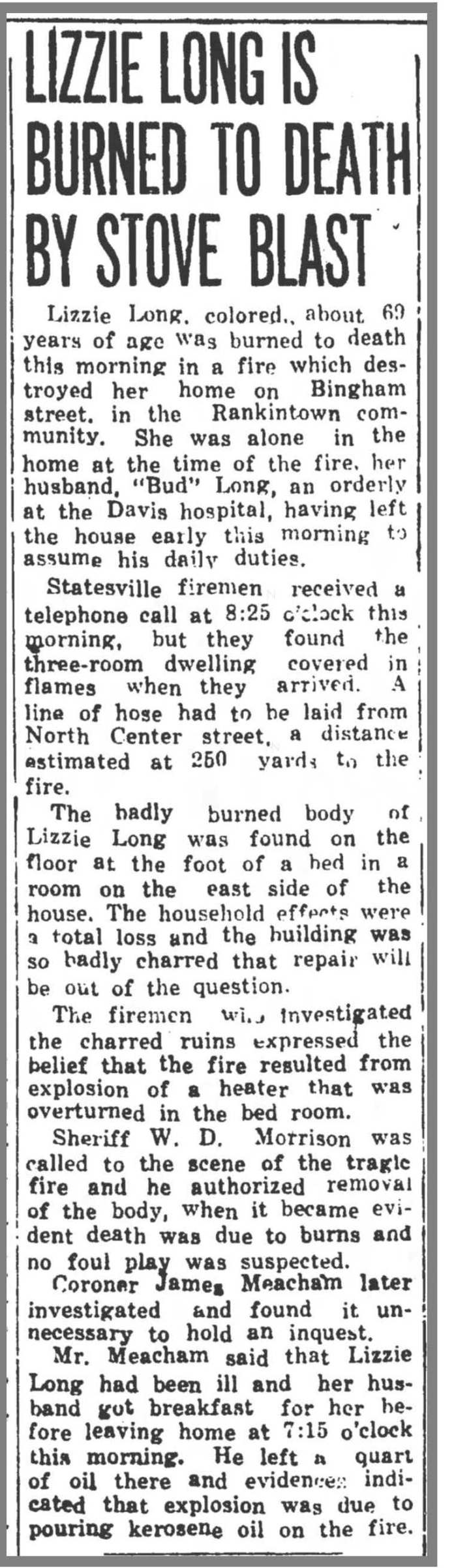 Statesville Rec & Landmark 9 28 1950 Lizzie Long burned