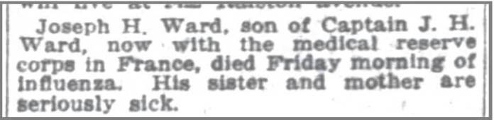 Indy News 19 Oct 1918 Joseph Ward Jr death