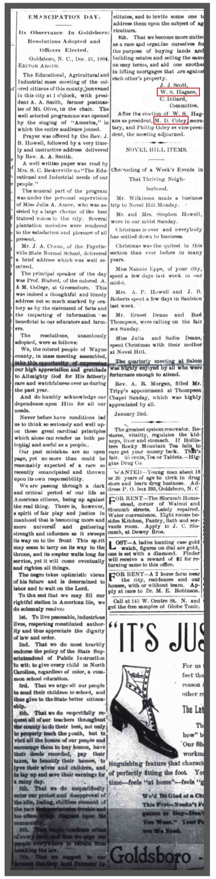Gboro Daily Argus 12 31 1905 Emancipation Day