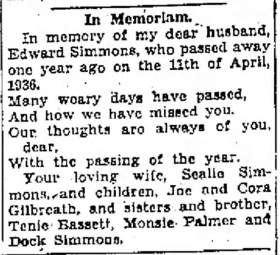 Koko Trib 4 10 1937 Ed Simmons memorial