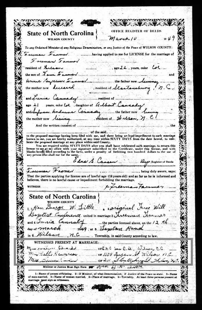 Marriage License Scuffalong Genealogy